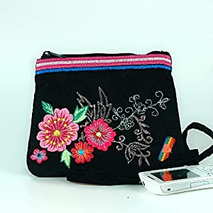 Neon floral embroidered coin purse