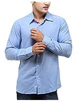 See Designs Men Buttoned Shirt (SDMDWSS14SH113_L, SKYE BLUE, L)