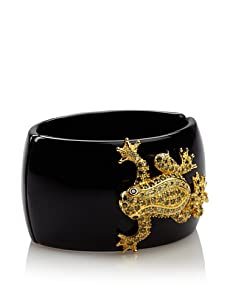 CZ by Kenneth Jay Lane Leaping Frog Hinged Bangle, Gold/Black/Green