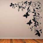 DeStudio Butterfly Floral Decorative Corner Wall Sticker, Size : TINY, Color : WHITE
