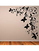 DeStudio Butterfly Floral Decorative Corner Home Art Decor Removable Vinyl Room Wall Sticker, Size : TINY, Color : WHITE