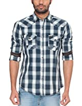 Zovi Cotton Slim Fit Indigo And White Checks Indigo Casual Shirt With Double 1032407260142