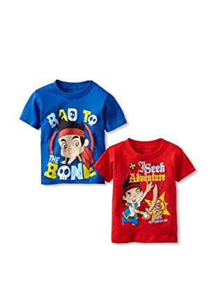 Freeze Boy's Jake and Neverland Pirates 2-Pack T-Shirt Bundle (Royal/Red)