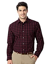 Peter England Red Cotton Slim Fit Shirt