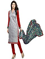 Rozdeal Women Cotton Gray and Red Printed Long Sleeve Salwar Kameez