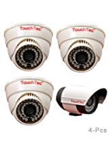 TouchTec Dome IR + Bullet Camera , 800 TVL with 3.6 MM Lens with stand-4 Pcs