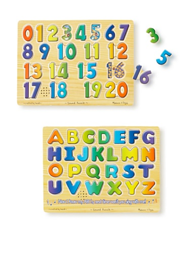 Melissa & Doug Numbers and Alphabet Sound Puzzle Set