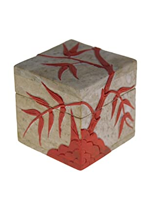The Niger Bend Small Soapstone Cube Box with Red Bamboo Design