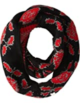 Betsey Johnson Women's Vintage Rose Infinity Black Scarf One Size