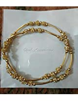 Beaded anklets with Gold color stone beads and gold colour pipes. made with elastic, fits for all
