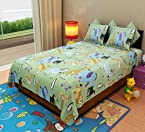 Home Candy Animal Kingdom Kids Cotton Double Bedsheet with 2 Pillow Covers - Multicolor