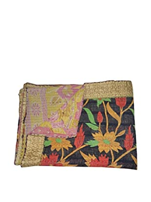 Vintage Pushpa Kantha Throw, Multi, 60
