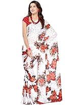 Printed White Saree