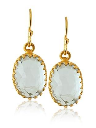 Kevia Rococo Oval Dangling Earrings, Blue Topaz