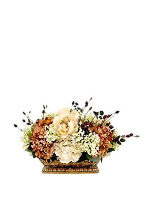 Creative Displays Rust & Cream Peony & Hydrangea Oblong Floral in Gold Pot, 20x16x25