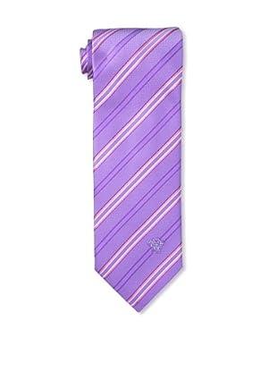 Versace Men's Striped Tie, Purple/Pink/White