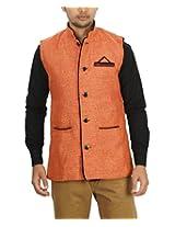 Ablush Men's Jute Plain Waistcoat - Orange - XXX-Large