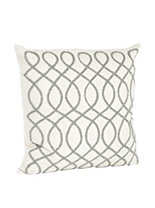Saro Lifestyle Pewter Swirl Design Beaded Pillow