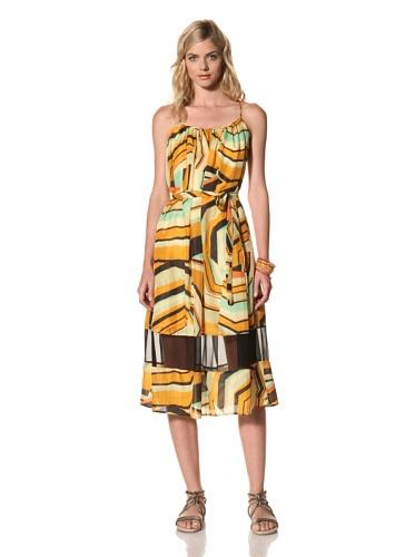 Thakoon Addition Women's Belted Kaleidoscope Dress with Chiffon Panel (Orange)