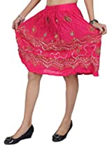 Exotic India Midi-Skirt With Embroidered Sequins and Printed Flowers - Color MagentaGarment Size Free Size