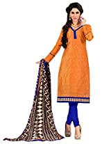 Inddus Women Orange & Blue Chanderi Embroidered Dress Material