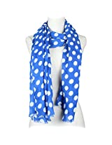 Vozaf Women's Viscose Stoles & Scarves - Royalblue And White With Polka Dots