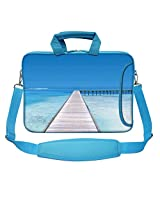 Meffort Inc 15 15.6 inch Blue Color Matching Neoprene Laptop Bag Sleeve with Extra Side Pocket, Soft Carrying Handle & Removable Shoulder Strap - Ocean View