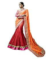 Anvi Creations Net Lehenga saree (Orange_Free Size)
