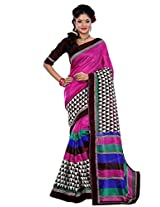 Riti Riwaz Pink Chapa Silk Printed saree with unstitched blouse RPS6208A