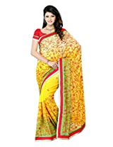 Diva Fashion-Surat Net Embroidered Yellow Saree-Dfs405B