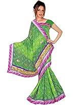 Kala Sanskruti Chiffon And Art Silk Bandhej Design Saree With Work [KSA3XI-52_Green]