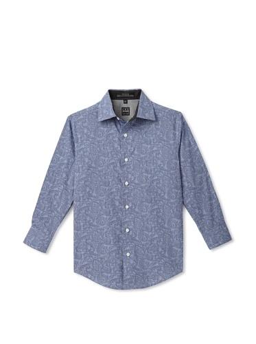 Ike Behar Boy's 8-20 Long Sleeve Paisley Print Shirt (Blue)