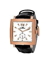 Luxury Swiss Quartz Movement White Dial Black Strap Mens Wrist Watch !
