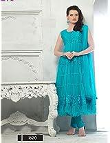 Latest Sky Blue Designer Semi Stiched Anarkali Salwar Suit