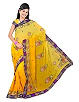 A.V.Fashion Embroidered Saree (1204_Yellow)