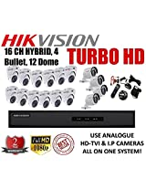Combo Kit Of Hikvision 16 Ch Triple Hybrid Turbo Hd Dvr + 4 Bullet + 12 Dome (Ds-7216Hghi-E1, Ds-2Ce16C2T-Ir, Ds-2Ce56C2T-Irb)