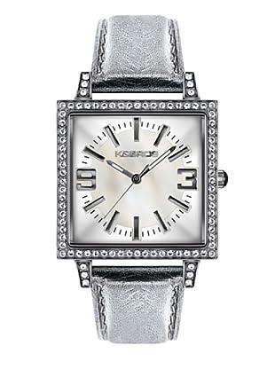 K&BROS 9148-2 / Reloj de Señora  con correa de piel blanco / plata