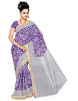 Parichay Women's Kerala Cotton Saree(Violet, White)