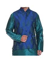Tag 7 Men's Silk Blend Kurta Pyjama With Jacket Set (KP107_Green_40)