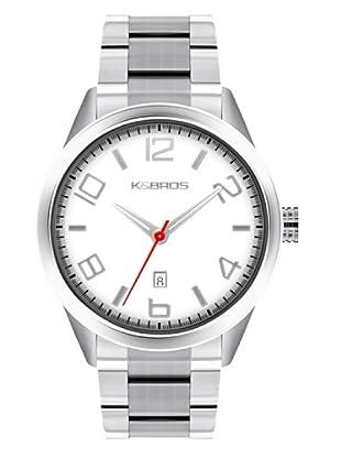 K&BROS 9483-2 / Reloj de Caballero  con brazalete metálico Blanco