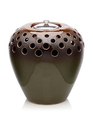 "Pacific Décor Flamepot Vase, Classic Green, 8.5"""