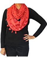 Womens Cowl Scarf One Circle Loop Wrap Clothing Gift (Red)