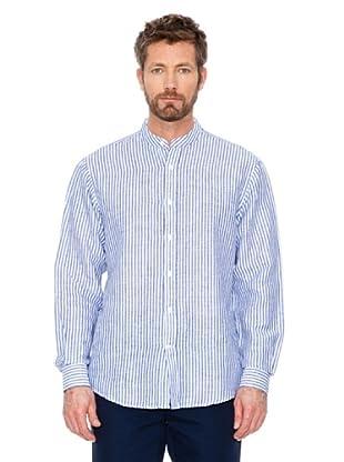 Cortefiel Hemd Leinen (Blau/Weiß)