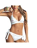Stunning Milky White Haltered Bikini Set