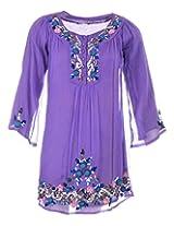 Pure Nautanki Women's Chiffon Round Neck Dress (SK-8345_M, Purple, M)