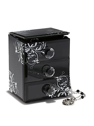 Allure Damask Jewelry Box with 3 Drawers & Open Top