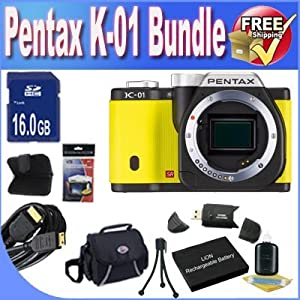 Pentax K-01 16MP APS-C CMOS Compact System Camera [Body] (Yellow) + Extended Life Battery + 16GB SDHC Class 10 Memory Card + USB Card Reader + Memory Card Wallet + Deluxe Case w/Strap + Shock Proof Deluxe Case + Mini HDMI to HDMI Cable + Accessory Saver Bundle!