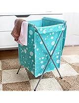 Oxford Fabric Foldable Laundry Basket Bag Travel Clothes Storage Bin Hamper (Color : Blue)