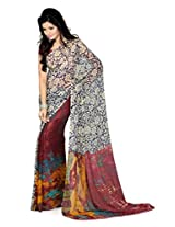 AISHA Printed Fashion Machine Georgette Multicolor Sari