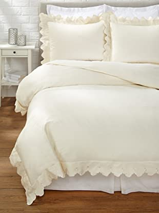 Belle Epoque Scalloped Embroidered Duvet Cover Set (Cream)